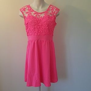 Tea & cup large pink dress sleeveless